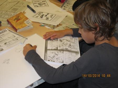 Erwan s'exerce sur un personnage de Manga